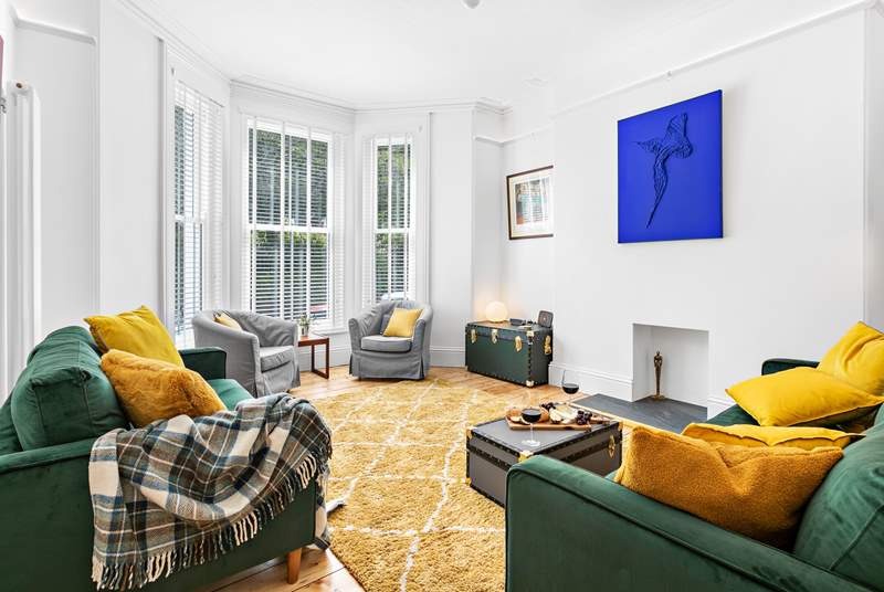 The super stylish sitting-room with artwork from several local artists.