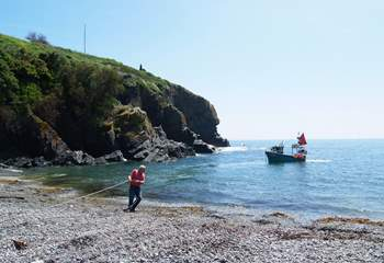Sometimes the beach is busy with fishermen hard at work!