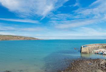 The lovely bay at Coverack with acres of sea and sky.