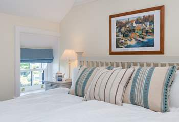 This spacious room overlooks the cove and the sea beyond, (this bed has two 3ft single mattresses on the 6ft bed frame) (Bedroom 2).