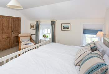 Lie back and look at the view from this super-king bed (Bedroom 2).