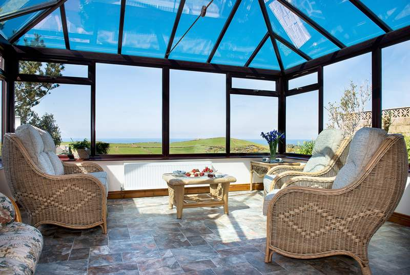 The fabulous conservatory at Bossiney View.