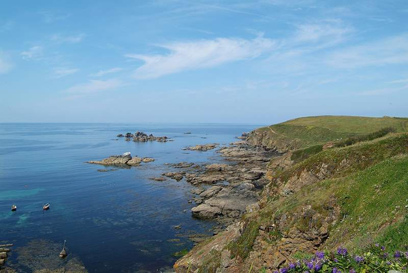 Enthusiastic walkers will enjoy exploring the spectacular South West Coast Path - this section is at Lizard Point.