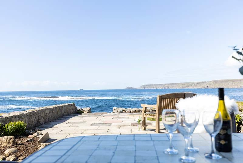 The view from the terrace at Oystercatcher awaiting your arrival