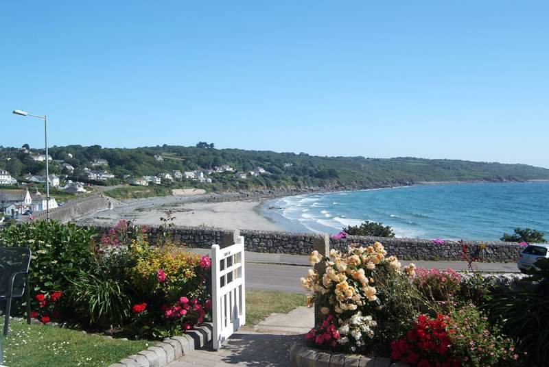 The glorious view from the front garden across Coverack bay.