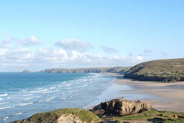 Perranporth beach on the nearby north coast is perfect for walking, surfing and swimming.
