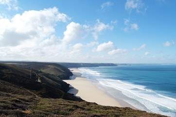 There are spectacular views from the north coast footpaths just seven miles away.