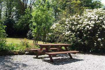 The garden is a lovely place to relax and enjoy meals in the sunshine.