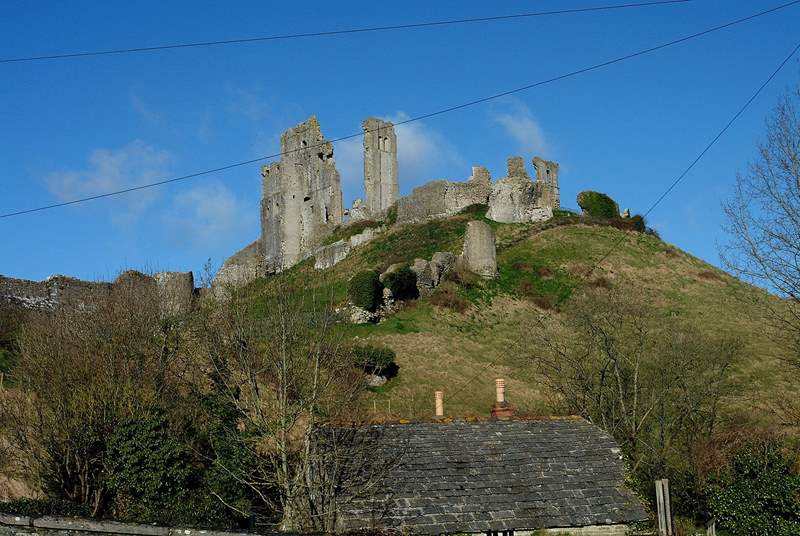 You can sit in the kitchen and look up at the National Trust's Corfe Castle!