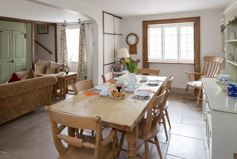 The sociable dining-area with a lovely farmhouse table and a dresser containing plenty of holiday games.
