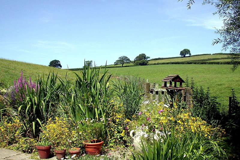 The stunning countryside view from the rear of the cottage.