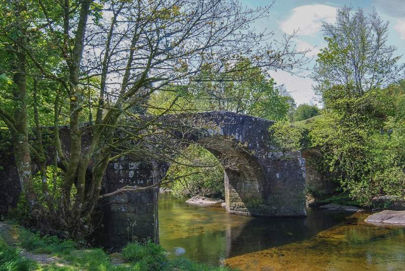 One of the many ancient stone bridges to be found on nearby Dartmoor.