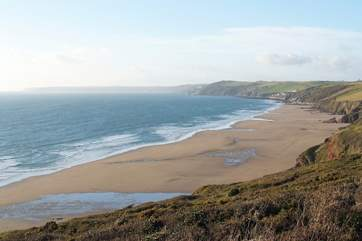 Whitsand Bay is just six miles away - this is the fabulous beach at Long Sands.