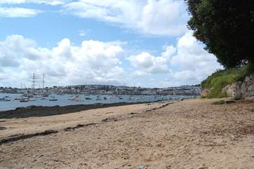 Flushing has its own little beach looking out across the water to Falmouth.
