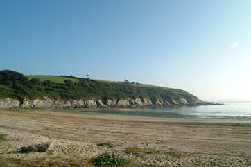 Maenporth beach near Falmouth is great for rock-pooling as the tide goes out.