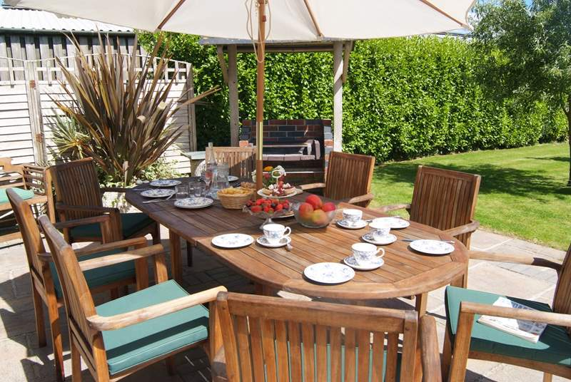 Or when the weather is good, what could be nicer than afternoon tea on the patio and maybe a barbecue later.