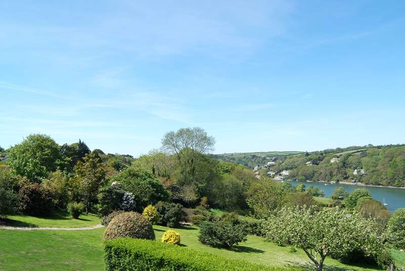 The glorious view from Gate Acre's terrace, across the garden towards Port Navas Creek.