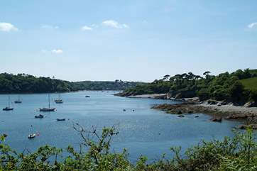 A view of the Helford River from Durgan, showing Trebah Garden's beach in the distance on the right.