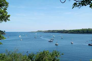The view in the other direction, where the Helford River meets the sea.