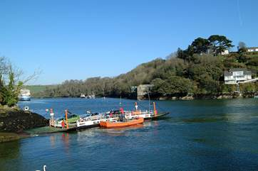 The Bodinnick ferry crosses the River Fowey.