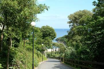 Looking down the driveway from the Maenporth Estate to the beach below.