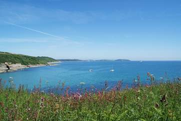 Looking across Falmouth Bay from the coastal footpath above Maenporth.