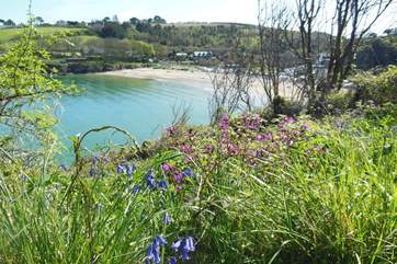 Looking over Maenporth beach from the Falmouth side of the cove.