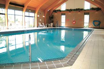The indoor heated swimming pool.