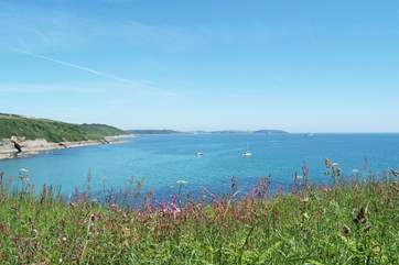 Looking across Falmouth Bay from the coastal footpath at Maenporth.
