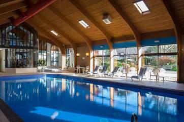 Jump into the heated indoor pool.