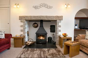 The fabulous woodburner is the focal point of the room and makes this a perfect retreat all year round