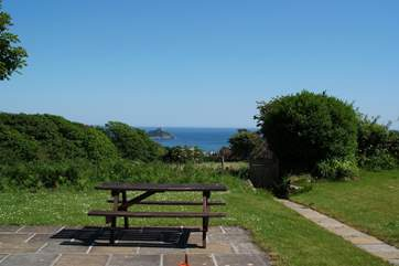 Relax and enjoy the view of St Michael's Mount from the enclosed garden.