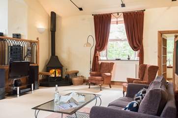 The cosy wood-burner is perfect for cooler evenings.