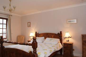 Bedroom 1 (first floor) has a king-size bed, dressing-area and en suite shower-room.