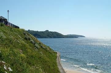 Looking towards Pendennis Castle from Gyllyngvase (Towan beach is around the corner).
