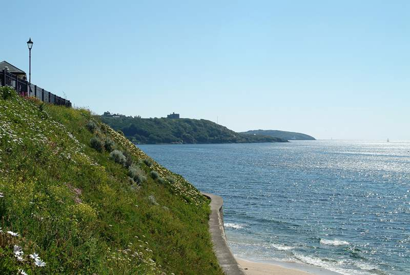 Looking towards Pendennis Castle from Gyllyngvase (Towan beach is around the corner).