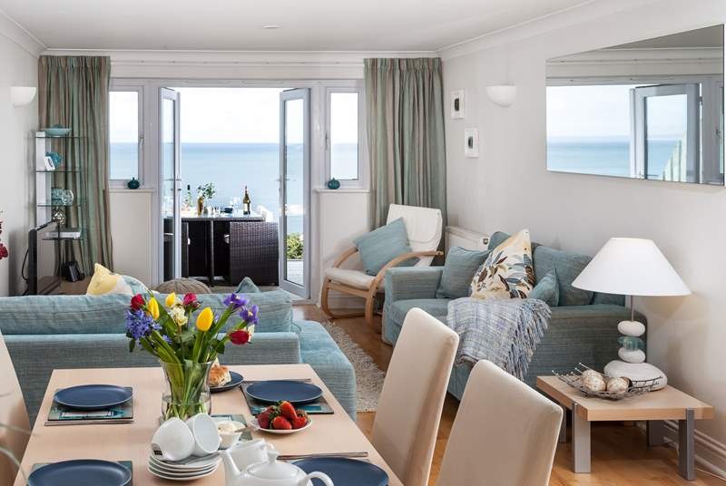 The fabulous open plan living area, with sea views.