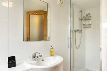 The stylish shower-room on the ground floor.