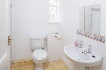 The family shower-room has a large shower to the left.