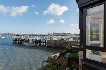 Looking towards the Prince of Wales Pier from the sitting-room balcony.