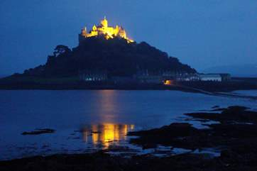 The view of St Michael's Mount from the cottage at night.