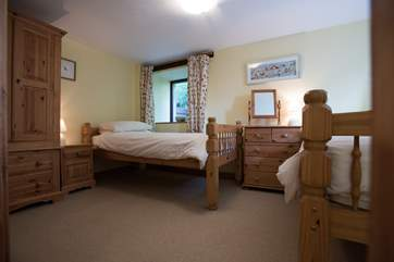 Bedroom 1 is on the ground floor and has twin beds.