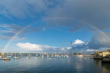 Looking towards the docks with a fabulous rainbow framing the view.