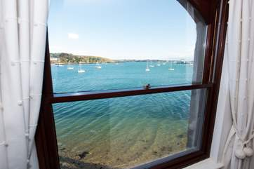 Looking towards the Roseland peninsula from the sitting-room.
