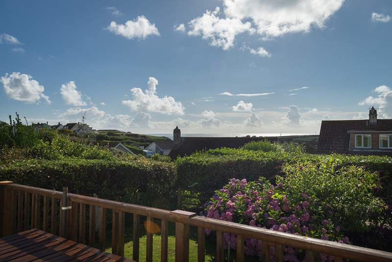 The wonderful view towards the sea from the back garden's raised deck.