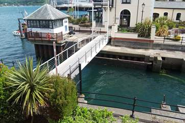The little footbridge across the marina entrance (just outside Harbour House) is raised to allow craft in and out.