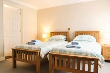 Bedroom 1 on the ground floor has twin beds.