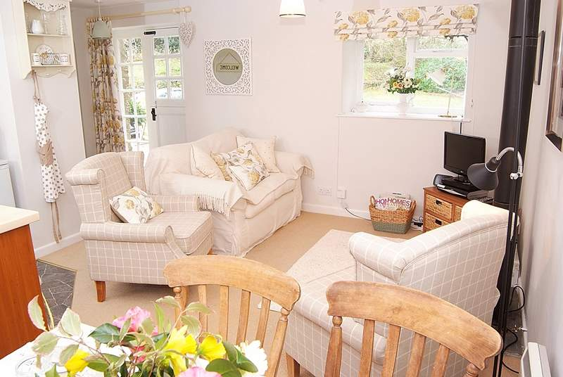 The open plan living-area is bright and comfortable. This is a very welcoming cottage.