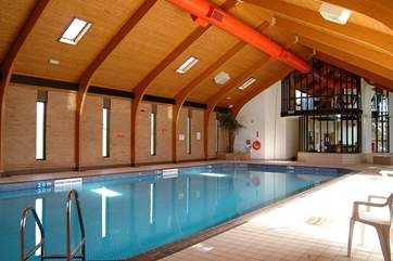 The heated indoor swimming pool.