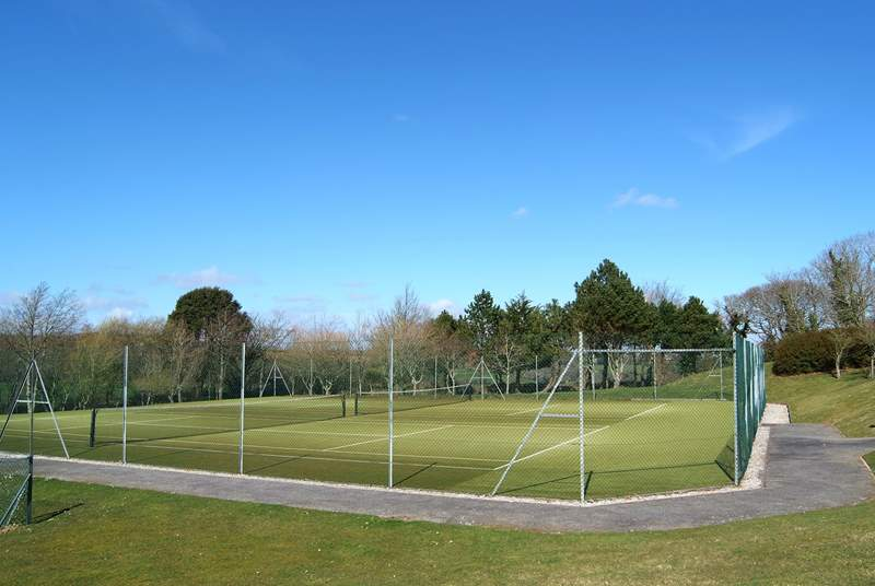 The all-weather tennis courts.